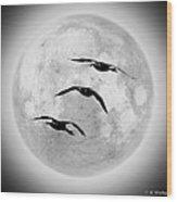 Moon Geese Wood Print