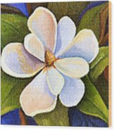 Moon Light Magnolia Wood Print by Elaine Hodges