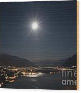 Moon Light Over An Alpine Lake Wood Print