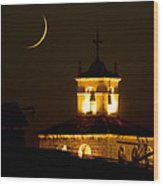 Moon On The Cathedral - Luna Sobre La Catedral Wood Print