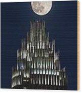 Moon Over Bank Of America Wood Print