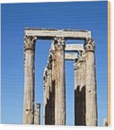Moon Over Corinthian Columns Of The Temple Of Olympian Zeus Ancient Greek Architecture Athens Greece Wood Print