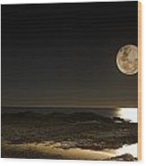 Moon Over Curumbin Wood Print