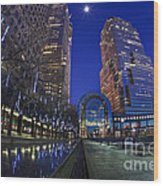Moon Over Financial Center Wood Print