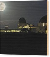 Moon Over Griffith Observatory Wood Print