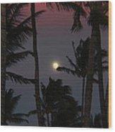 Moon Over Hawaii Wood Print