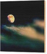 Moon Over Isla Mujeres Wood Print