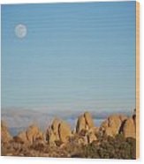 Moon Over Joshua Tree Wood Print