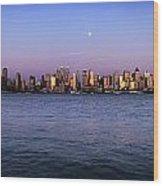 Moon Over Midtown Manhattan Skyline Wood Print