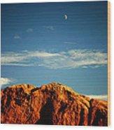 Moon Over Red Rocks Garden Of The Gods Wood Print
