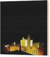 Moon Over Rock Of Cashel, Co Tipperary Wood Print