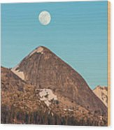 Moon Over Sierra Peak Wood Print