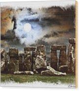 Moon Over Stonehenge Wood Print