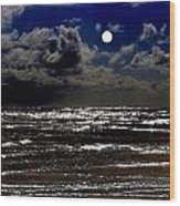 Moon Over The Pacific Wood Print
