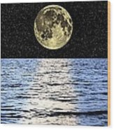 Moon Over The Sea, Composite Image Wood Print