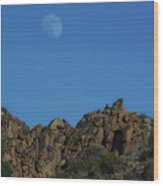 Moon Rise Joshua Tree Wood Print