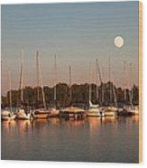 Moon Rises Over The Marina Wood Print