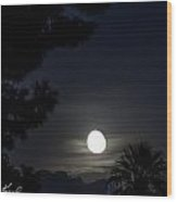 Moon Rising Over Superstition Mountains Wood Print