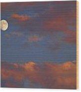 Moon Sunset Wood Print