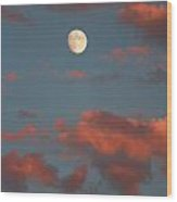 Moon Sunset Vertical Image Wood Print