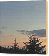 Moon Watching The Sunset In Acadia Wood Print