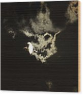 Moonglow Reveals Face In The Cloud Wood Print