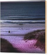 Moonlight Beach Wood Print