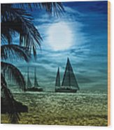 Moonlight Sail - Key West Wood Print