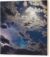 Moonlit Clouds With A Splash Of Lightning Wood Print