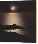 Moonlit Coast Wood Print
