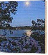 Moonlit Hydrangeas By The Se Wood Print
