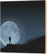 Moonlit Solitude Wood Print