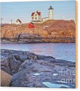 Moonrise At Nubble Light  Wood Print
