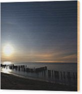 Moonrise At The Beach Wood Print by Cale Best