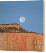 Moonrise Over East Temple - Zion  Wood Print