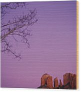 Moonrise Over Oak Creek Canyon Wood Print