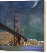 Moonrise Over The Golden Gate Wood Print