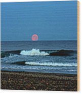Moonrise Rexham Beach Wood Print