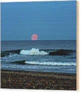 Moonrise Rexham Beach Wood Print by Malcolm Lorente