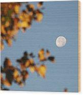 Moonset Morning Wood Print