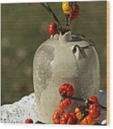 Moonshine Jug And Pumpkin On A Stick Wood Print
