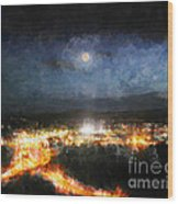 Moonshine Over Prescott Wood Print