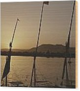 Moored Feluccas On The Nile River Wood Print by Kenneth Garrett