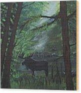 Moose In Pines Wood Print