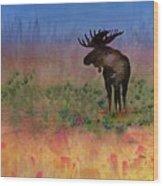 Moose On The Tundra Wood Print by Carolyn Doe