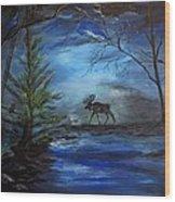 Moose Pond Wood Print
