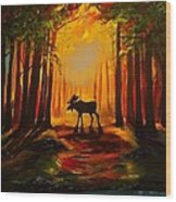 Moose Sunset Wood Print
