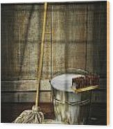Mop With Bucket And Scrub Brushes Wood Print
