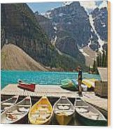 Moraine Lake - Banff National Park - Canoes Wood Print