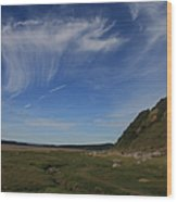Morecambe Bay Cirrus Wood Print